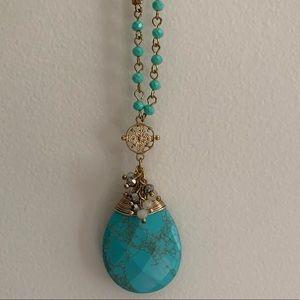 Gold Long Pendant Necklace.